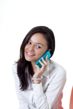 young beautiful women talking at on the phone with a smile Stock Photo