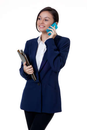 success beautiful business woman talking to the client with a happy face  Stock Photo - 16848486