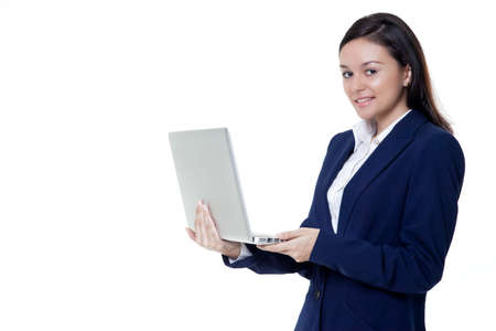 Beautiful women with smile   laptop at her hand