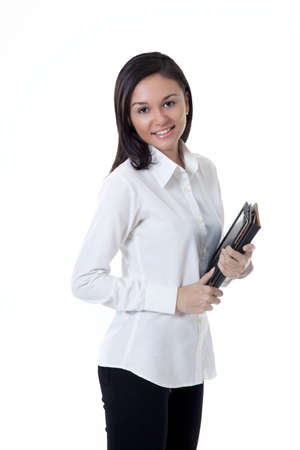 Young College student holding a note book on the white background