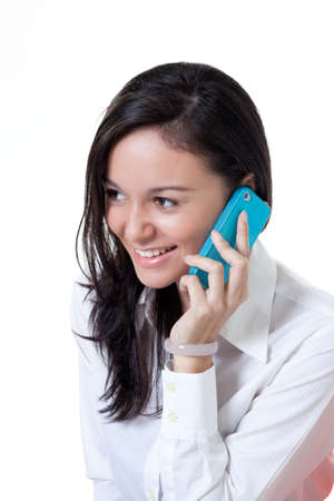 Beautiful College student talking on the with a smile Stock Photo