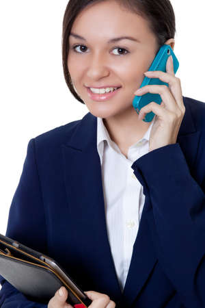 Beautiful College student talking on the with a  big smile