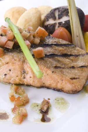 close up of grilled salmon steak