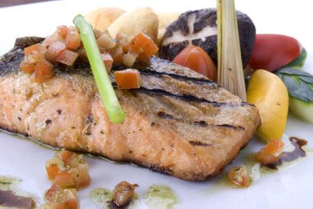 close up of crispy grilled salmon steak   Stock Photo