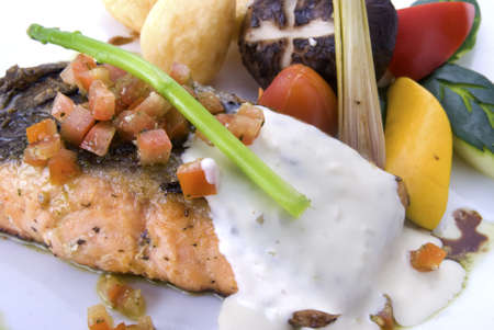 crispy grilled salmon steak with tatar sauce