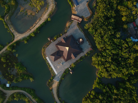 Aerial view classic mosque surrounded by mangroves