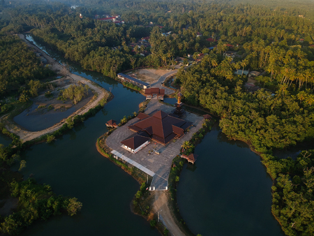 Aerial view classic mosque surrounded by mongroves Stock Photo