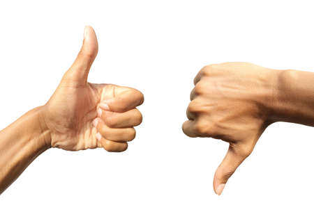 Positive hand thumb up and negative hand thumb down  isolated on white background. Design  concept for like or dislike Foto de archivo - 140090016
