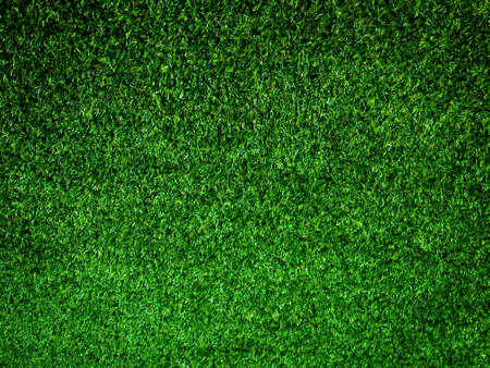 Closeup view of green grass soccer field background. Wallpaper for work and design.