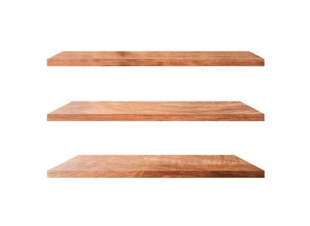 Three wooden shelves isolated on white background with clipping path for your product or design Imagens