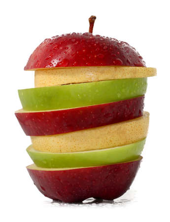 apple and orange: Mixed fruits; Green Apple, Red Apple and Yellow Pear
