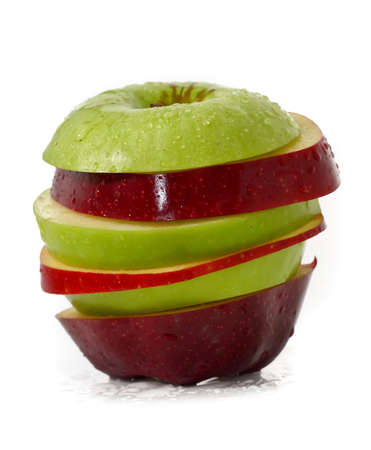 apple and orange: Mixed fruits; Green Apple and Red Apple