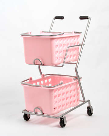 Pink Shopping trolley over white background Stock Photo - 8475459