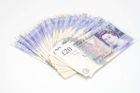 20: British Pound Notes Stock Photo