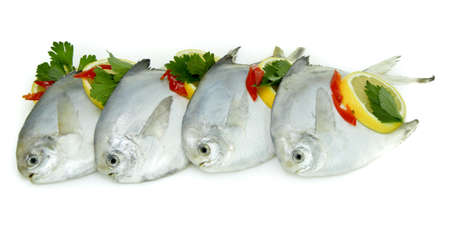 Fresh White Pomfret with Lemon and Chillies Imagens