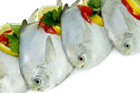 Close-Up of Fresh White Pomfret with Lemon and Chillies
