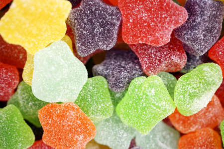 coated: Rows of multicolor sugar coated soft jelly candies background  Stock Photo