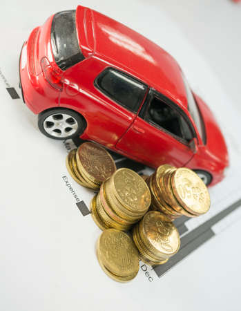 financial statement: Financial Statement with coins Car loan Concept