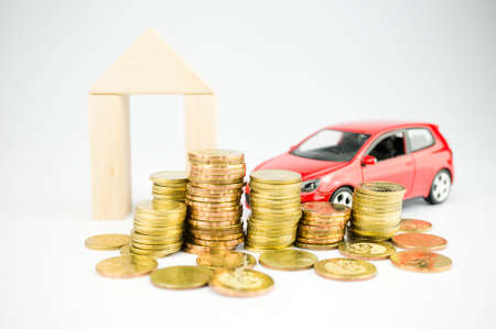liquidity: Personal wealth idea, gold, car, savings, properties Stock Photo