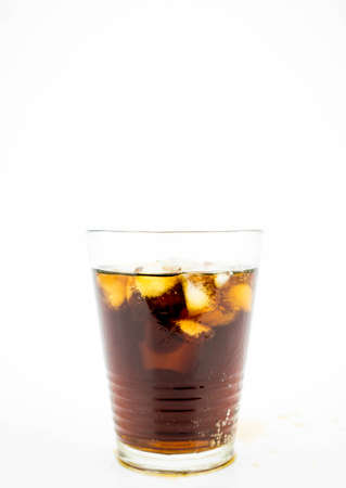 Glass of Coke (Cola) with ice cubes on white background 版權商用圖片