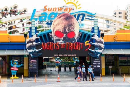 KUALA LUMPUR, MALAYSIA - SEPTEMBER 29, 2017: Sunway Lagoon theme park entrance, with Festival of Fear Billboard.