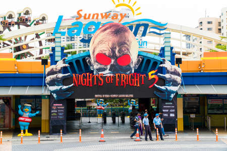 KUALA LUMPUR, MALAYSIA - SEPTEMBER 29, 2017: Sunway Lagoon theme park entrance, with Festival of Fear Billboard.