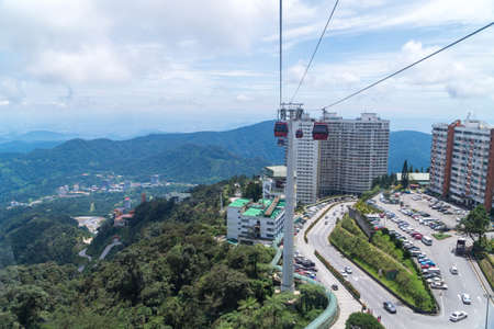 GENTING HIGHLAND, MALAYSIA - SEPTEMBER 16, 2017: The cable car ride, one of Genting Highland's most popular attractions, providing a method of travel between Awana Station and SkyAvenue mall