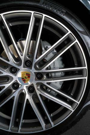 KUALA LUMPUR, MALAYSIA - AUGUST 19, 2017: Big Brake Kit and Rims from Porsche Panamera 4S at showroom in Kuala Lumpur, Malaysia. Editorial
