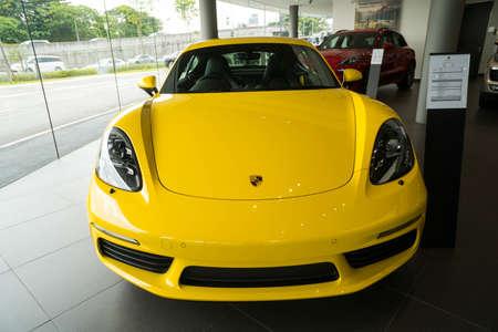 KUALA LUMPUR, MALAYSIA - AUGUST 19, 2017: Porsche 718 Cayman at the showroom in Kuala Lumpur Malaysia