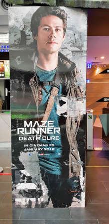 KUALA LUMPUR, MALAYSIA - JANUARY 17, 2018: Maze Runner: The Death Cure movie poster, is a 2018 American dystopian science fiction action film based on the novel The Death Cure written by James Dashner