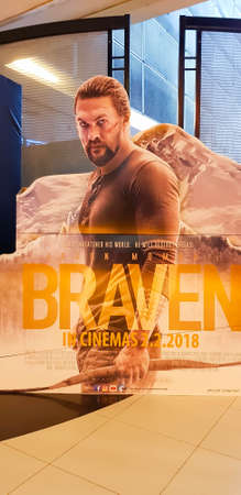 KUALA LUMPUR, MALAYSIA - FEBRUARY 3, 2018: Braven movie poster, Braven is a Canadian action thriller film stars Jason Momoa as Joe Braven