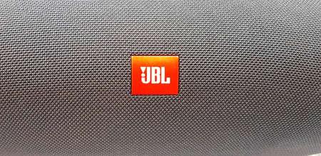 KUALA LUMPUR, MALAYSIA - FEBRUARY 3, 2018: Jbl logo, JBL is an American company that manufactures loudspeaker and associated electronics.