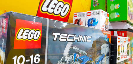 KUALA LUMPUR, MALAYSIA - MARCH 3, 2018: Lego Technic is a line of Lego interconnecting plastic rods and parts, is to create more advanced models with more complex technical. Stockfoto - 103205495