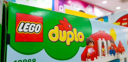 KUALA LUMPUR, MALAYSIA - MARCH 2, 2018: Duplo (trademarked as DUPLO) is a product range of the construction toy Lego, designed for children aged 1½ to 5 years old