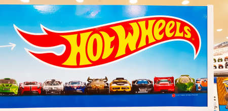KUALA LUMPUR, MALAYSIA - MARCH 2, 2018: Hotwheels toys logo on display at Toys r us. Hotwheels is a product of Mattel, with factories located in Penang, Malaysia and Thailand.
