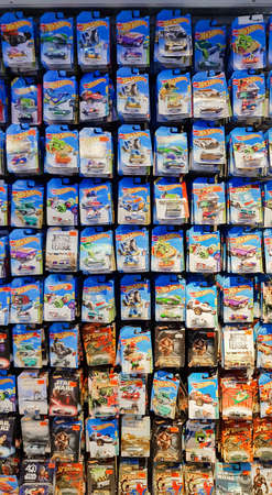 KUALA LUMPUR, MALAYSIA - AUGUST 25, 2018: Hotwheels toys on display at Toys r us. Hotwheels is a product of Mattel, with factories located in Penang, Malaysia and Thailand. Editorial