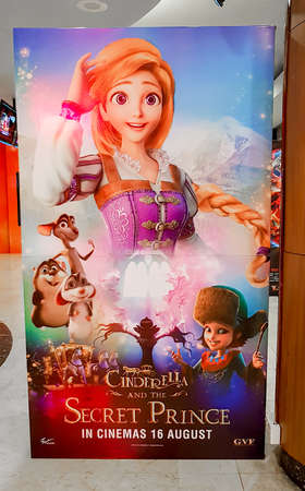 KUALA LUMPUR, MALAYSIA - AUGUST 26, 2018: Cinderella and the Secret Prince (Cinderella 3D) movie poster