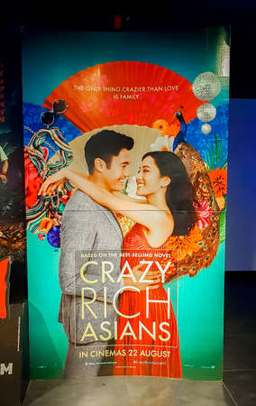 KUALA LUMPUR, MALAYSIA - SEPTEMBER 5, 2018: Crazy Rich Asians movie poster, this contemporary romantic comedy directed by Jon M. Chu Publikacyjne