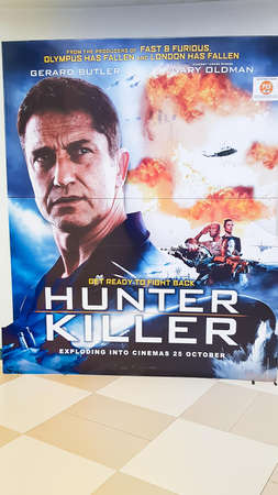 KUALA LUMPUR, MALAYSIA - NOVEMBER 14, 2018: Hunter Killer movie poster. The movie is about American submarine to resque Russian president starring Gerard Butler