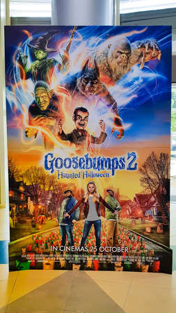 KUALA LUMPUR, MALAYSIA - NOVEMBER 5, 2018: Goosebumps 2: Haunted Halloween movie poster. The movie is about two young friend find a magic book that brings a ventriloquists dummy to life