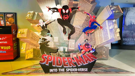 KUALA LUMPUR, MALAYSIA - NOVEMBER 26, 2018: Spider-Man: Into the Spider-Verse movie poster. This movie storyline is about Miles Morales becomes the spider-man and crosses path with his counterparts