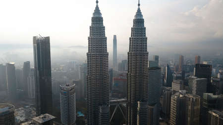 KUALA LUMPUR, MALAYSIA - DECEMBER 24, 2018: Aerial photo of Kuala Lumpur cityscape, including KLCC, TRX and KL Tower