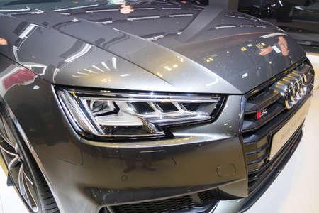 SINGAPORE - JANUARY 12, 2019: Headlight from Audi S4 Avant at the Singapore Motorshow