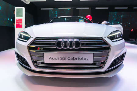 SINGAPORE - JANUARY 12, 2019: Audi S5 Cabriolet at the Singapore Motorshow Editorial