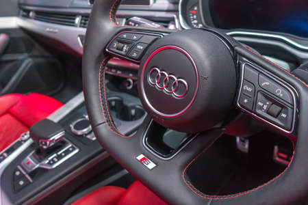 SINGAPORE - JANUARY 12, 2019: Close-up Steering Wheel from Audi S5 Cabriolet at the Singapore Motorshow Editorial