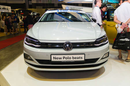 SINGAPORE - JANUARY 12, 2019: Volkswagen new Polo Beats at the Singapore Motor Show