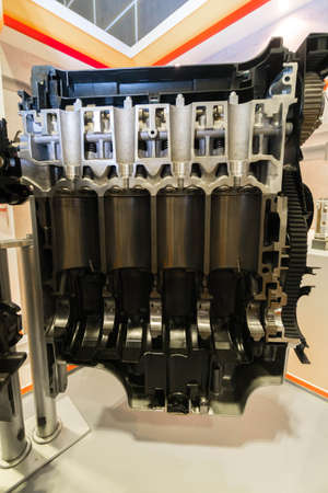 SINGAPORE - JANUARY 12, 2019: Cut away car engine at Singapore Motorshow