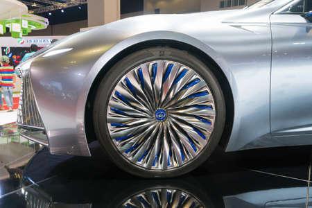KUALA LUMPUR, MALAYSIA - NOVEMBER 23, 2018: Rims and tyre from Lexus LS+ Concept at Kuala Lumpur Motor Show Sajtókép