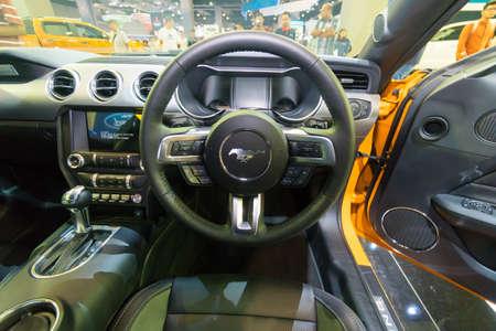 KUALA LUMPUR, MALAYSIA - NOVEMBER 23, 2018: Steering Wheel from Ford Mustang at Kuala Lumpur Motor Show