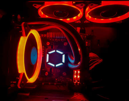 Close-up of Desktop CPU motherboard and RGB heat fan